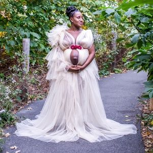 Beige Maternity Shoot Tulle Couture Gown/Costume